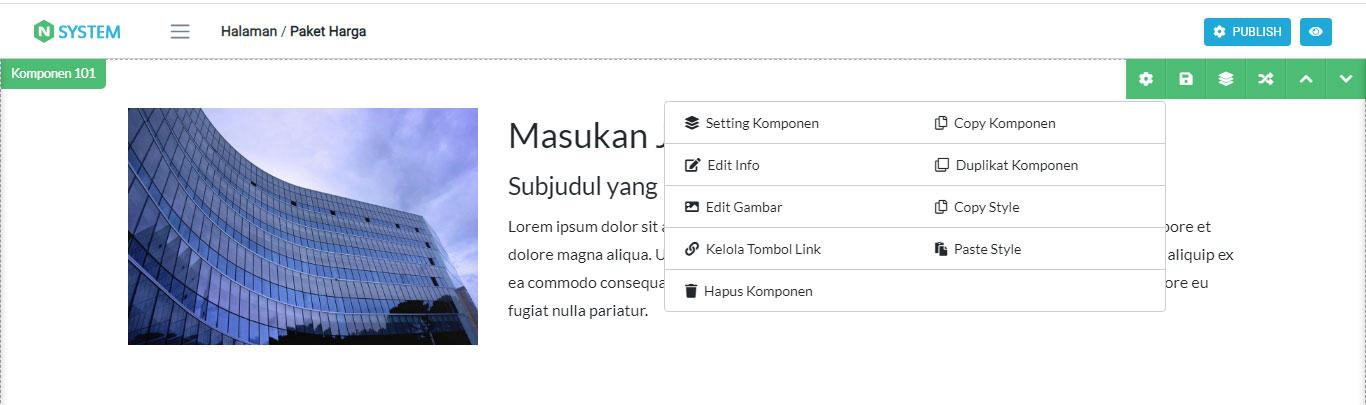 Tool untuk Editing Komponen Website